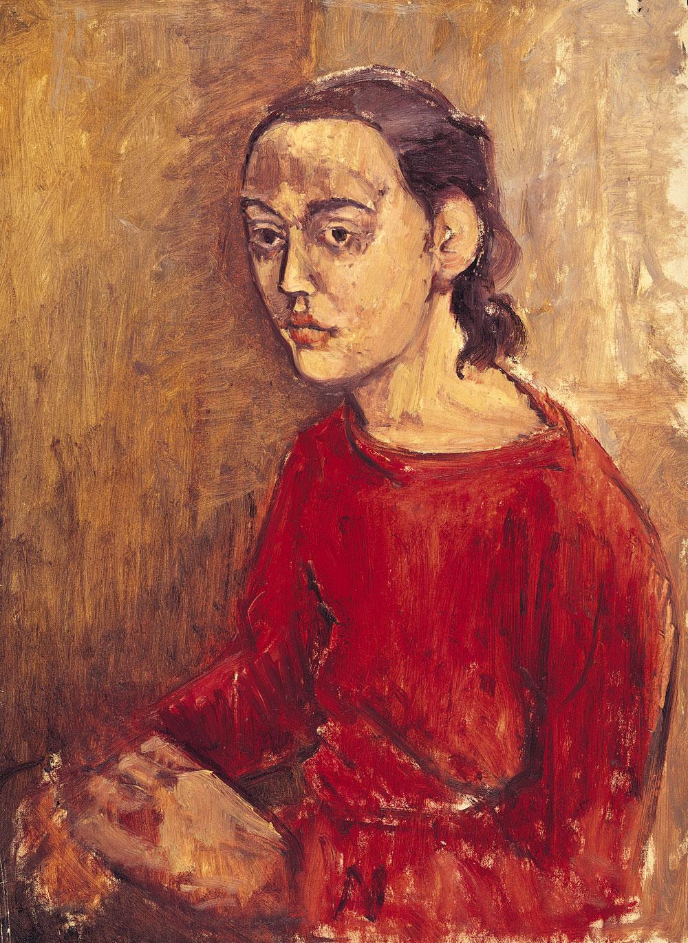 Self-Portrait in Red Dress